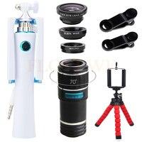12X Telephoto Zoom Lens 3 In 1 Fisheye Wide Angle Macro Lenses Universal Clips Mini Selfie