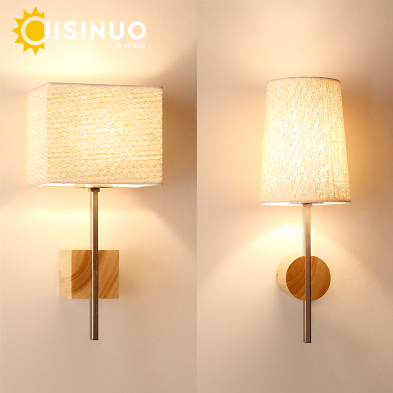 Modern Creative Wood Fabric Sconces Simple LED Wall Light Fixture for Bedroom Dining Living Room Home Indoor Lighting Decoration modern wall lamp glass ball led wall sconces bedside wall light fixture bedroom luminaria home lighting vintage lamp