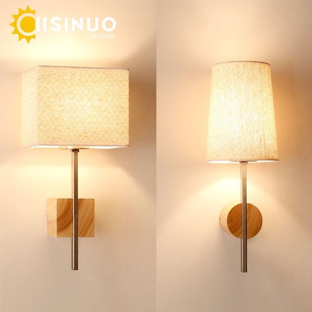 US $53.94 39% di SCONTO|Moderno Creativo Legno Tessuto Applique Semplice  LED Lampada Da Parete per Camera Da Letto Soggiorno Sala Illuminazione ...