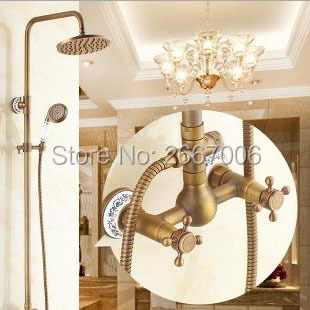 Free shipping Vintage Bathroom Faucet Shower Wall Mounted Shower Set With Rain Head Shower Brass Shower Faucet Set Retro GI235