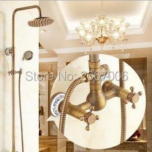 Livraison gratuite Vintage robinet de salle de bain douche mural ensemble de douche avec tête de pluie douche en laiton robinet de douche ensemble rétro GI235