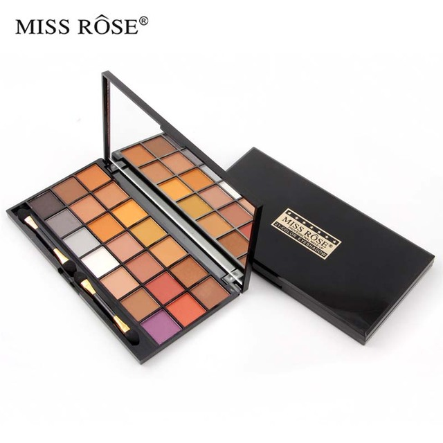MISS ROSE 21 Colors Square Shimmer Classical Eye Shadow Palette Natural Nude Matte Eyeshadow Makeup with brush 7001-059