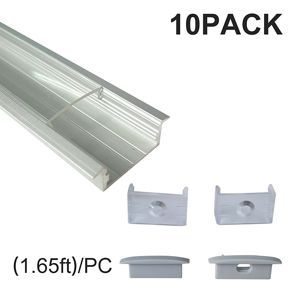 SamCreating Silver U Type Flush Mount with Clear Cover  LED Aluminum Channel 12mm Inner Width For 2835 3528 5050 Strips Light 50m 2515b aluminum profile with cover for width up to 12mm led strips wood kitchen cabinets exhibition boot stores shelf lights