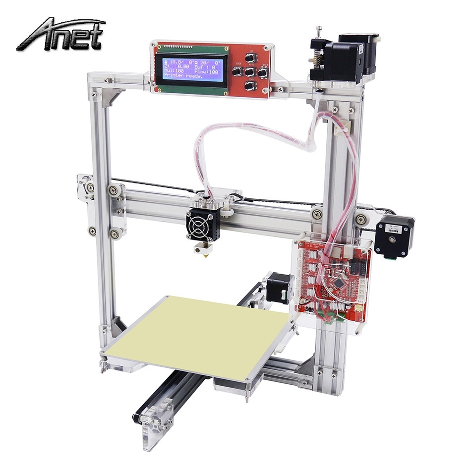 Anet A2 High Precision Desktop Plus 3D Printer LCD Screen Aluminum Alloy Frame Reprap Prusa i3 with 8GB SD Card 3D DIY Printing anet upgraded a6 high quality desktop 3dprinter prusa i3 precision with roll kit diy assemble filament 16gb sd card lcd screen