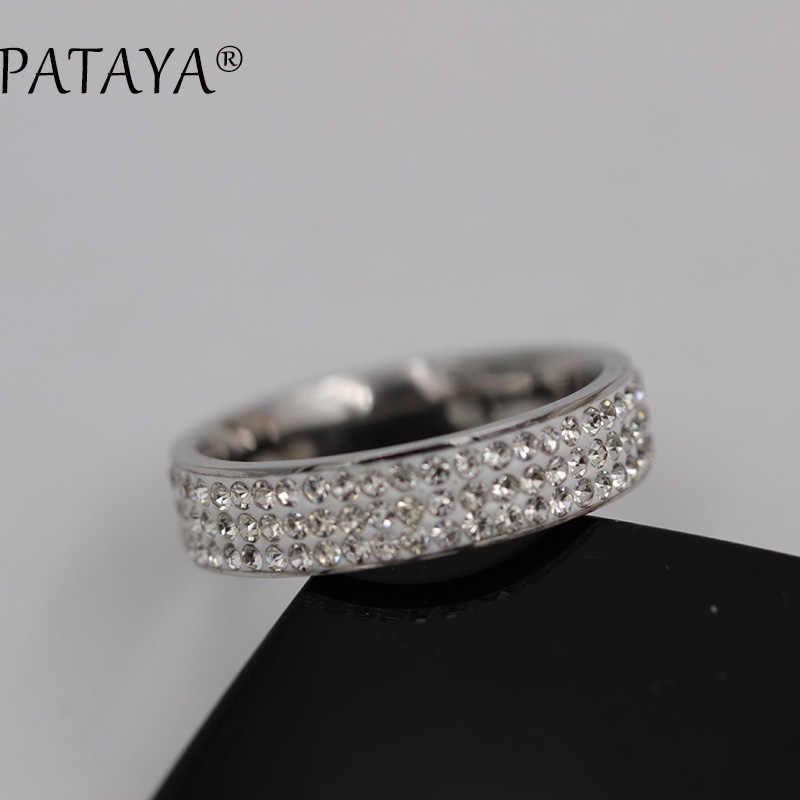 PATAYA, nuevo RU, gran oferta, anillos grandes de acero inoxidable, anillo de diamantes de imitación redondos de oro blanco verdadero, joyería de moda para fiestas y bodas para mujer