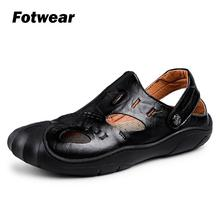 Fotwear Men sandals Leather men calzado hombre zapatos with a protective toe Big size to 10.5 Beach walking