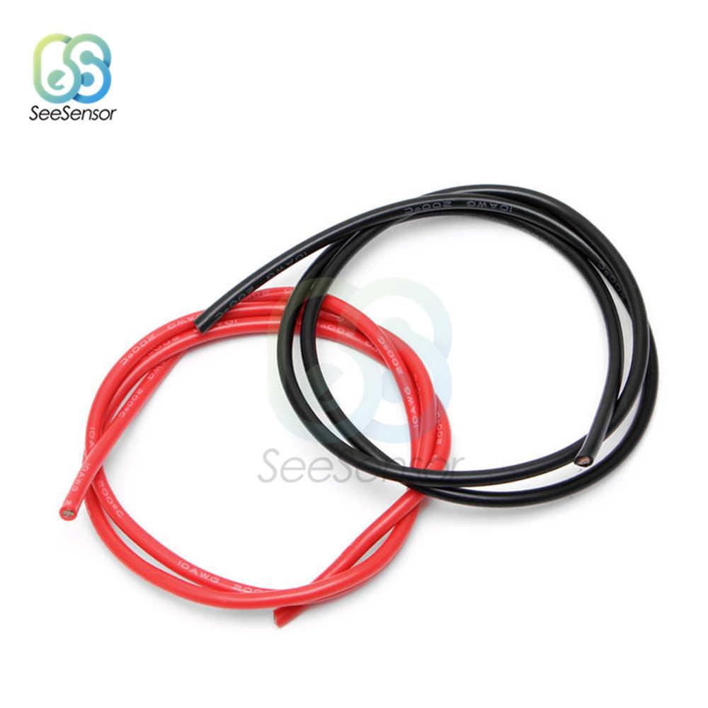 1 mètre noir + 1 mètre rouge 10/12/14/16 jauge AWG fil électrique étamé cuivre isolé Silicone rallonge LED câble