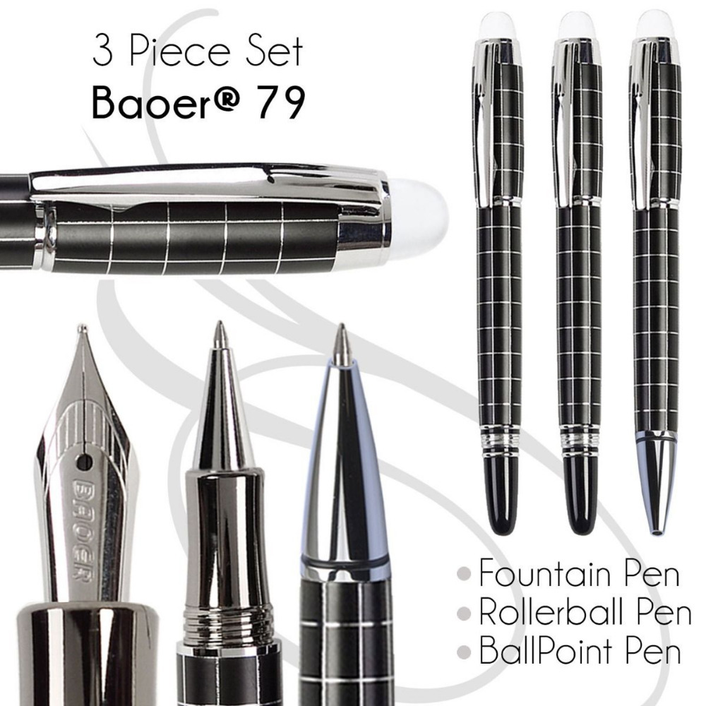 Set 3 of BallPoint Pen + Fountain Pen + Rollerball Pen  BAOER 79  office and school stationery  Free Shipping