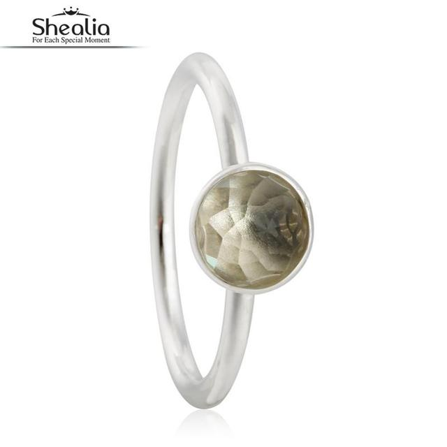 SHEALIA November Birthstone Droplet Engagement Ring Real 925 Sterling Silver Jewelry Round Facets Floral Crystal Rings For Women