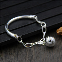 Authentic Silver Wholesale S925 Sterling Silver With Pearl Bracelet women's Simple Korean Version Of The Bracelet Wrist