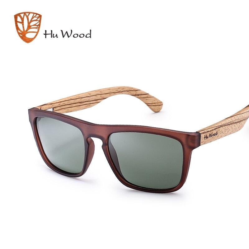 HU WOOD Natural Bamboo Sunglasses for Men Zebra Wood Sun Glasses Polarized Sunglasses Rectangle Lenses Driving UV400 GR8002
