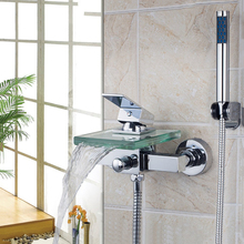 Torayvino Bath Shower Faucets Square Wall Mounted Waterfall