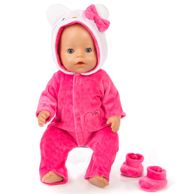 New Warm cat Jumpsuits Set Doll clothes Wear for 43cm Zapf Baby Born Doll , Children best Birthday Gift(only sell clothes)