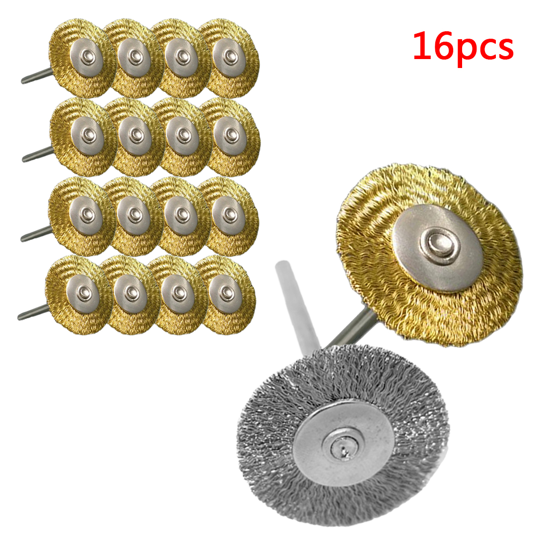 25mm 16pcs Platinum Blades Steel Wire Wheel Brush Dremel Rotary Tool For Mini Drill Tools Polishing Dremel Accessories