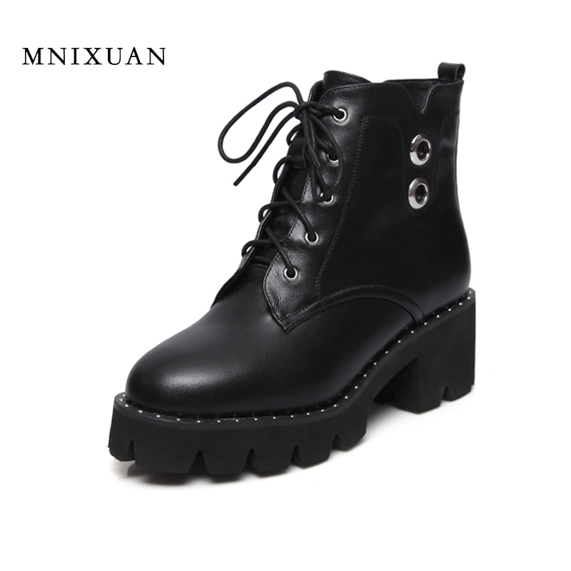 Shoes women 2017 antumn winter genuine leather ankle boots lace up block high heels martin boots platform motorcycle short boots women led light shoes casual shoes led luminous boots unisex genuine leather ankle boots women usb charging martin boots 35 46