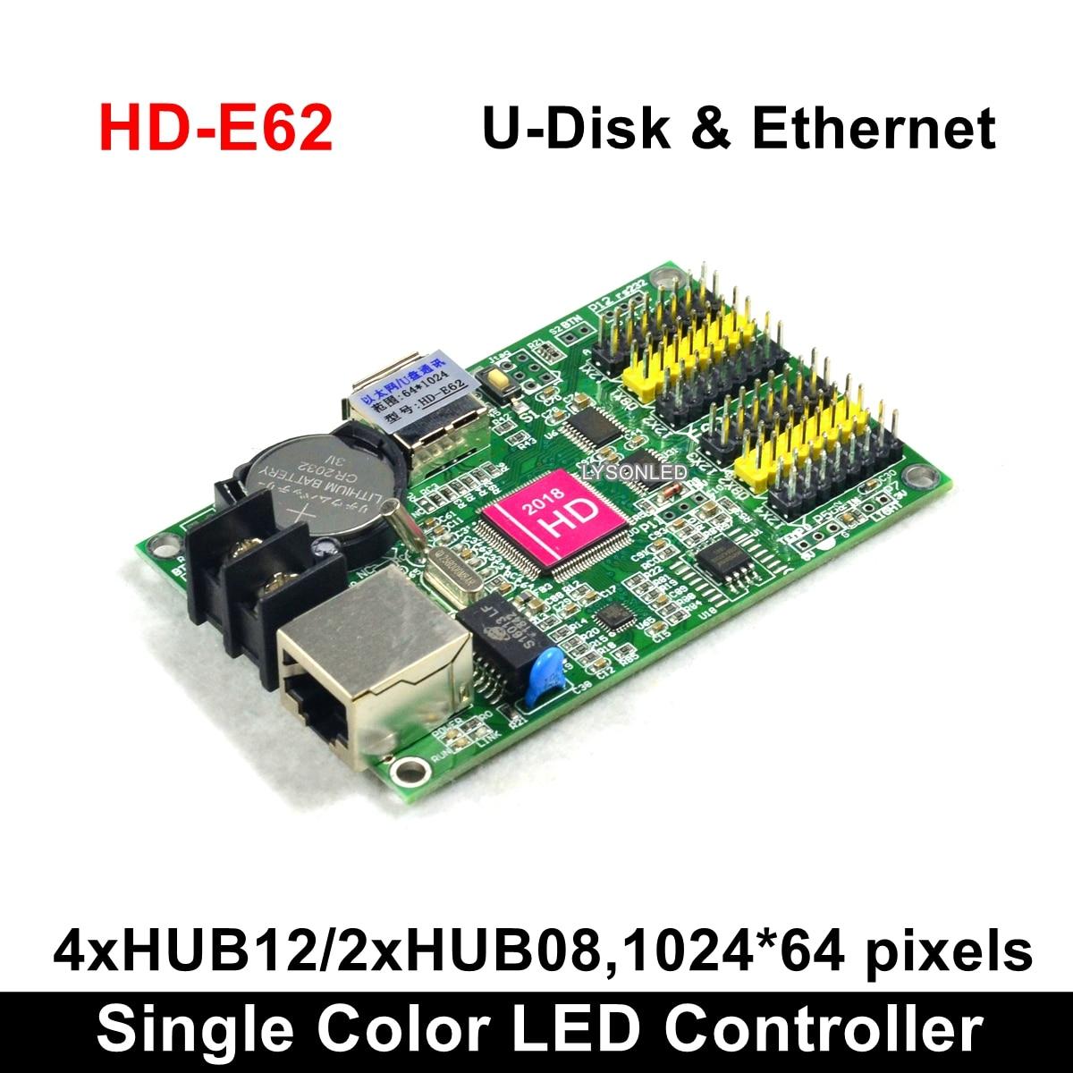 HD2018 Software HD-E62 Huidu P10 Monochrome LED Display Card,Single Color And Dual Color LED Controller (HD-E63 E64 On Sale)