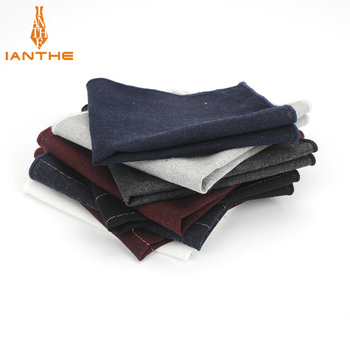 Erkek Marka Ceket Mendilleri Cep Kare % 100% Pamuk Erkek Çizgili Katı Cravata Mendil Beyaz Siyah Basit Tasarım Hanky