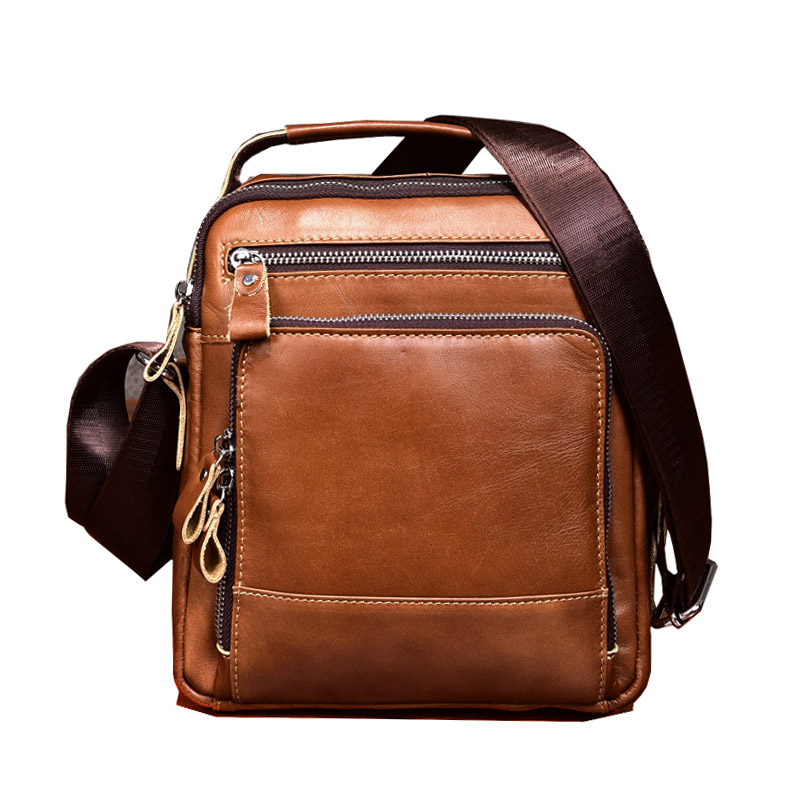купить Brown Men Briefcase Totes Male Genuine Leather Handbags Young Boy Oil Wax Leather Messenger Bags Men's Shoulder Bag по цене 3739.86 рублей