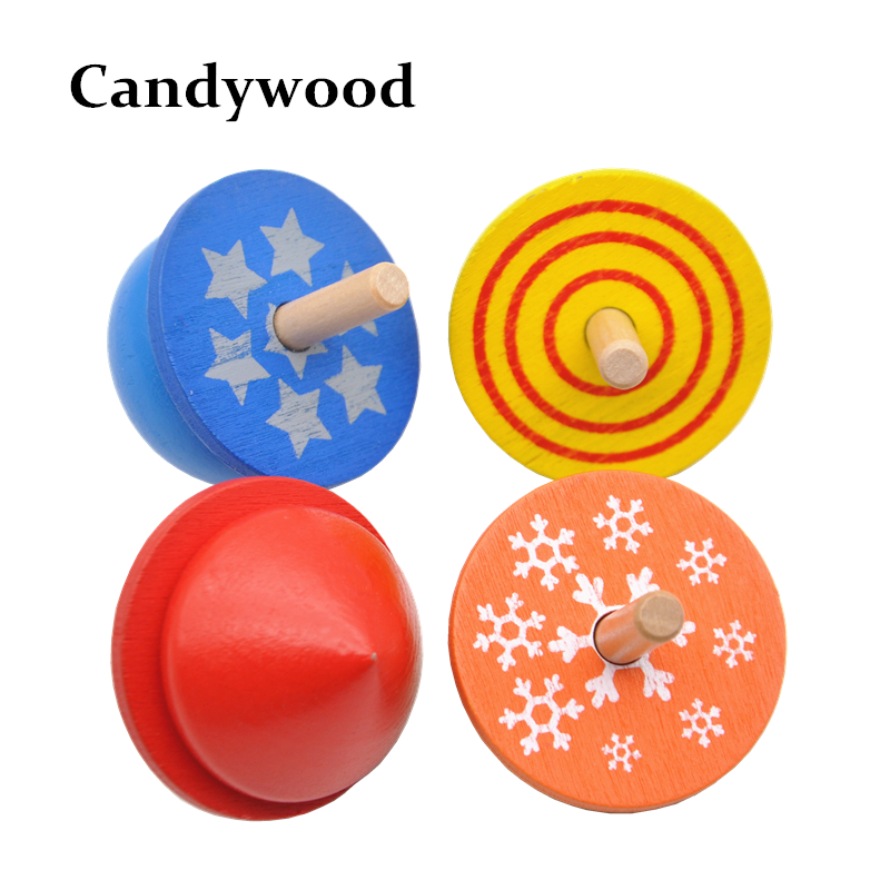 Candywood 4 pcs/lot Kids Wooden Toys Colorful Beyblade Spinning Top Funny Classic Game T ...
