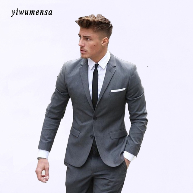 yiwumensa custom made hommes costume terno masculino gris costume homme pour le mariage fumer. Black Bedroom Furniture Sets. Home Design Ideas