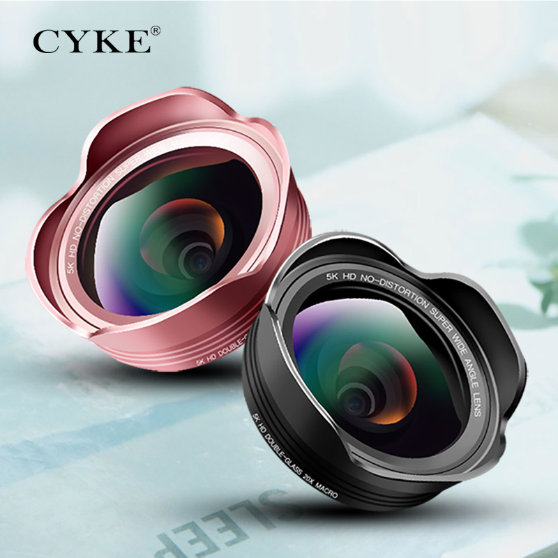 CYKE Lens 16MM HD Wide Angle Optic Pro 5K Cell Phone Camera Lens Kit 2X for Samsung galaxy s8 iPhone No distortion Phone Lenses