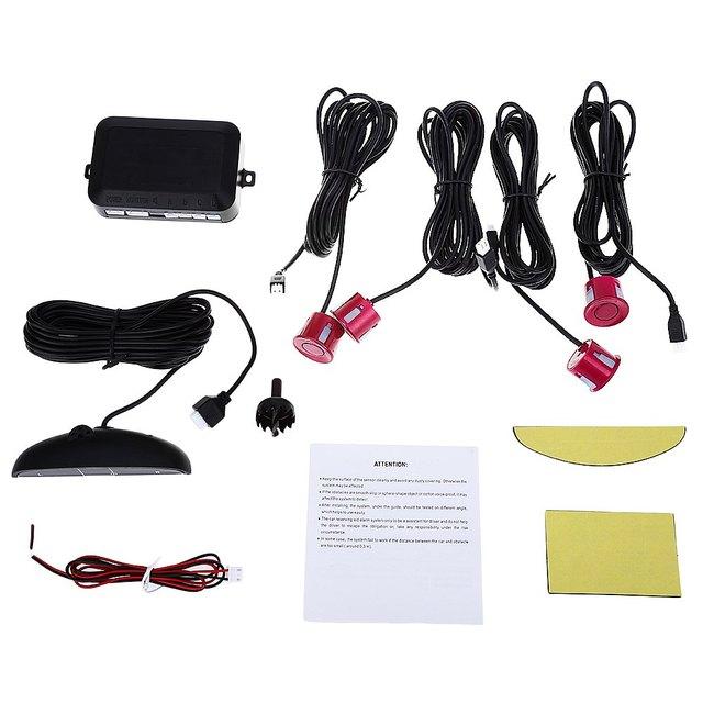 Reverse Backup Radar System LED Display Car Voice Buzzing Speech Sound Warning Sensors Anti-freeze Rain Proof with 4 Parking