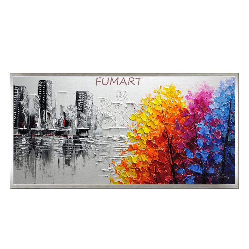 Hand painted new designed modern abstract oil painting on canvas hit color style blue orange CITY TREE picture wall art GIFT