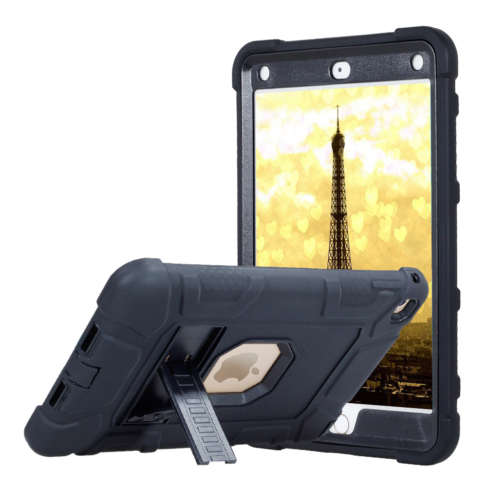 For iPad mini 4 Rubber Rugged Armor Tablet Case Cover Kids Baby Safe Shockproof Heavy Duty Silicone+PC Hard Case With Kickstand