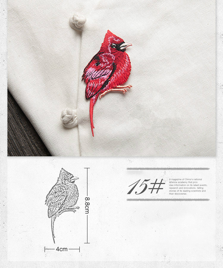 Bird Iron on Patches for Clothing Animal of The Breach Embroidery Applique DIY Hat Coat Dress Pants Accessories Cloth Sticker