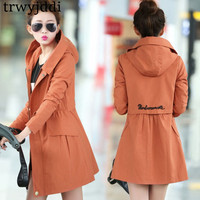 Fashion 2019 Spring Autumn Windbreaker Female New Korean Long Section Casual Plus Velvet Coat Was Thin Hooded Winter Jacket N318