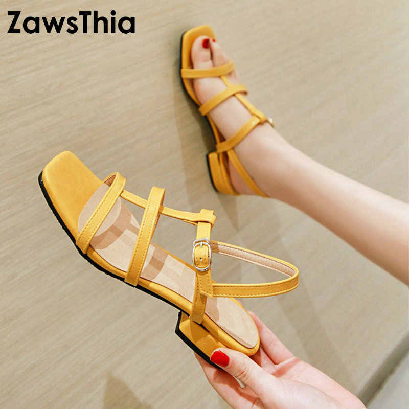 ZawsThia 2019 Summer PU Yellow Blue Green Low Square Heels Woman Shoes Bandage Strap Open Toe Gladiator Sandals Big Size 48 49