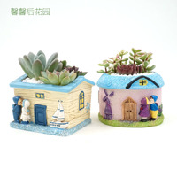 A Couple Of Fleshy Flower Ornaments Features Fleshy Flowerpot Ceramic Decorations Old House Wooden Villa