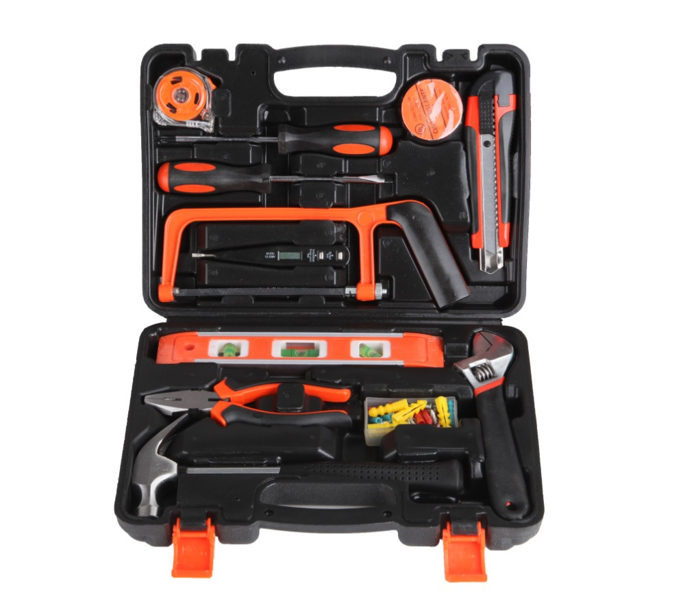 HB 13Pcs Household Hand Tool Set Wood Working Tools Plastic Toolbox Storage Case Hand Tool Set General