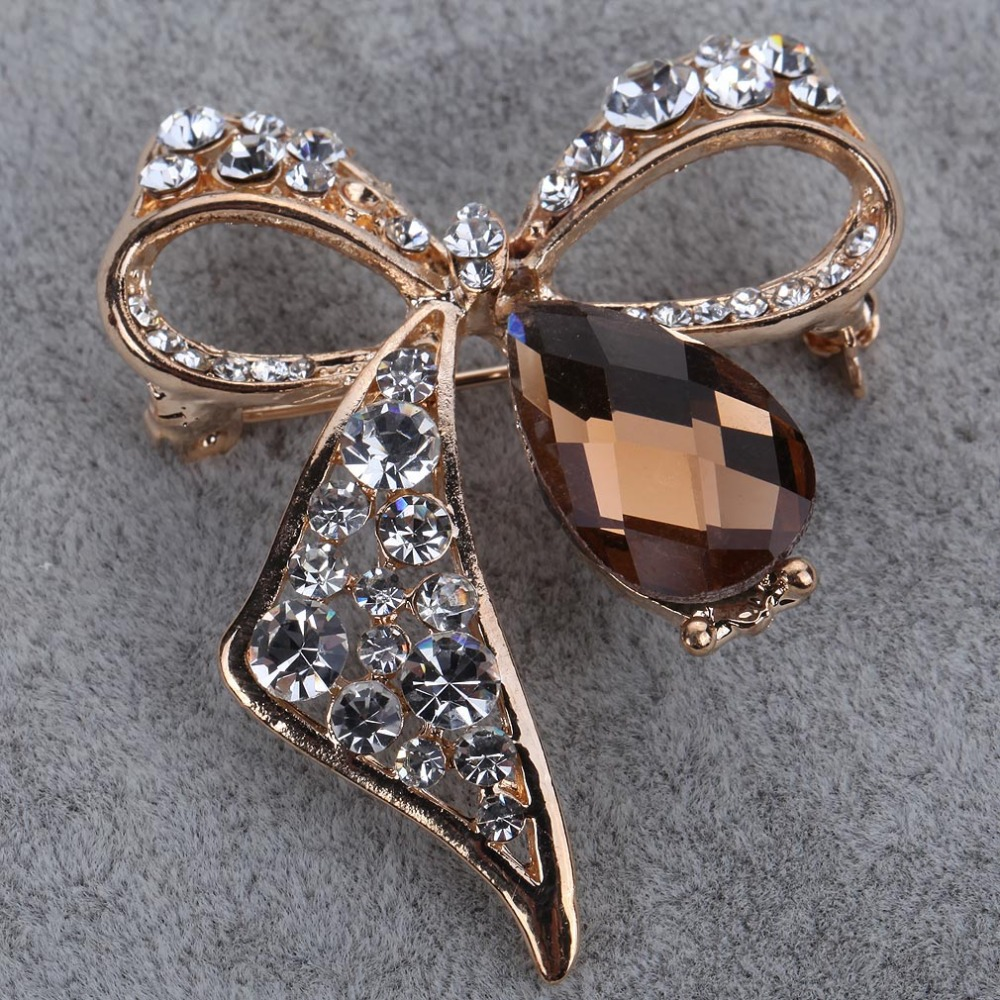 Brooches: Summer Fashion Fine Jewelry Overwatch Brooch Pin Gold Plated Clear Rhinestone Brooch Rhinestone Brooches for Wedding Bouquet