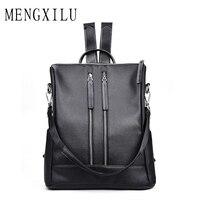 MENGXILU Brand Fashion Women Backpacks High Quality Casual School Bags PU Leather Backpacks Teenage Girls Double