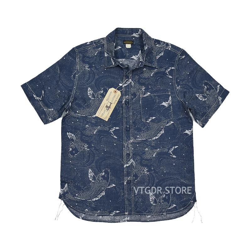 BOB DONG algodón Lino Vintage ropa Animal Carp patrón hombres botón abajo camisa-in Camisas casuales from Ropa de hombre    1