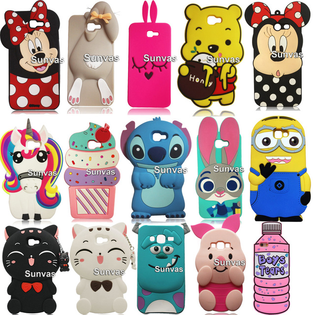 online store ba069 650f3 US $3.59 10% OFF|3D Cute Soft Silicone Phone Case Back Cover Skin For  Samsung Galaxy J5 Prime J7 Prime 3D Cases-in Fitted Cases from Cellphones &  ...