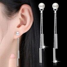 NEHZY-joyería de plata de ley 925 para mujer, aretes largos de borla con perlas simples, Pendientes colgantes con personalidad