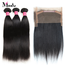 Meetu Indian Straight Hair Bundles with Frontal Closure 2PCS Human Hair Bundles with Frontal Non Remy 360 Frontal with Bundles