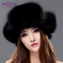 Women's fur hat for winter genuine leather fur tapper hat with fur pom pom ear protect  bomber hats Russian Ushanka caps