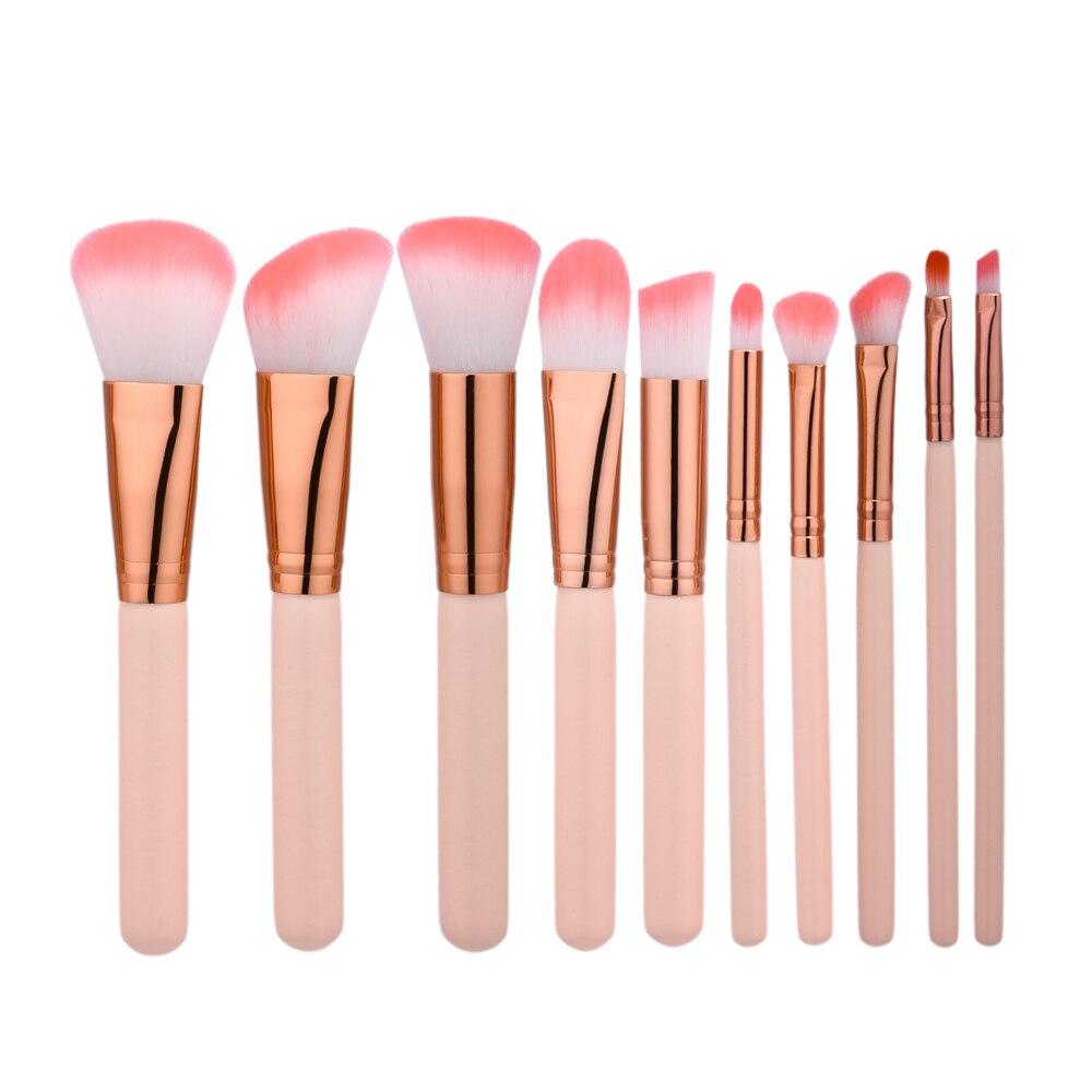Fashion 10pcs Kabuki Makeup Brushes Set Kit Foundation Blusher Face Powder Eyeliner Eye Makeup