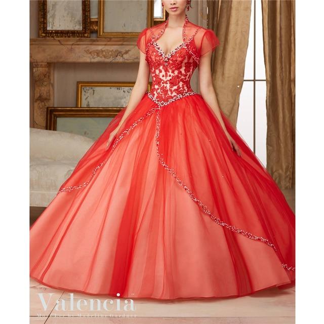 fa3554e82 Ball Gown Spaghetti Straps Appliques Beading With Jacket Tulle Quinceanera  Vestidos 15 Vestido Vestidos De Quinceanera