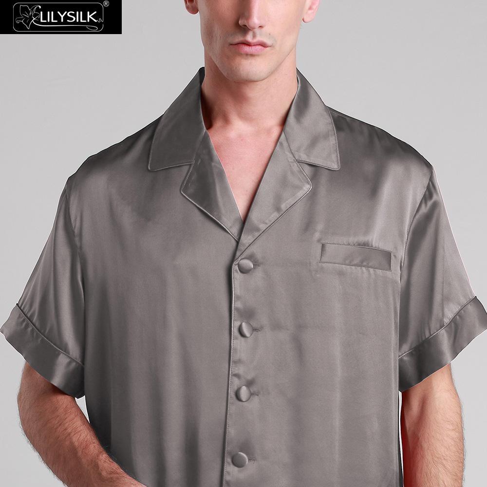 1000-dark-gray-22-momme-classic-short-silk-pyjamas-set-01