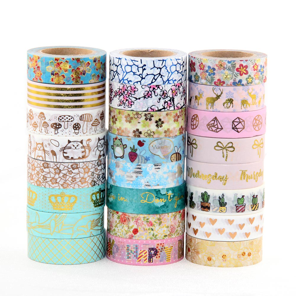 Foil Washi Tape Heart Japanese 1.5*10meter Kawaii Scrapbooking Tools Masking Tape Christmas Photo Album Diy Decorative Tapes gold foil washi tape adhesive scrapbooking christmas party elk decoration tape kawaii photo album maskingtape