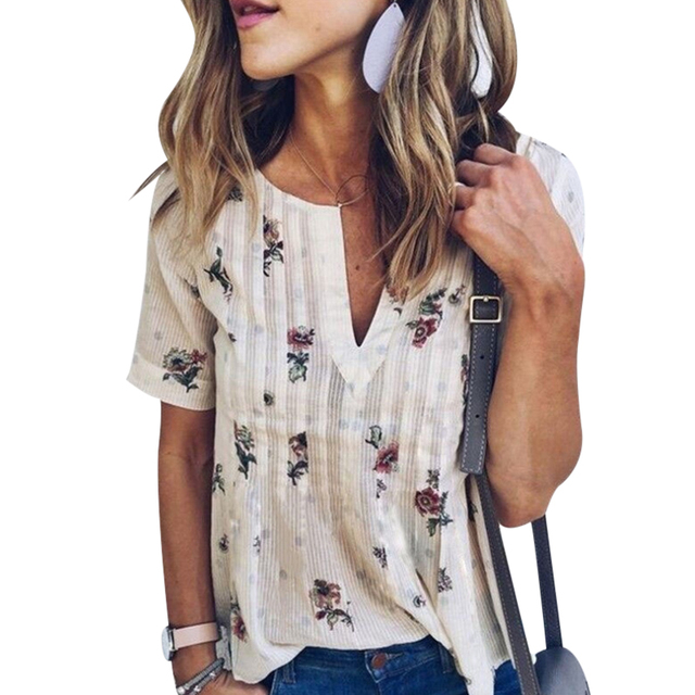 48f676cbf9 US $8.02 19% OFF|Vintage Bohemian Style Women T Shirt V Neck Floral Printed  T Shirts Womens Short Sleeve Loose Tee Tops Female Summer Tops Mujer -in ...