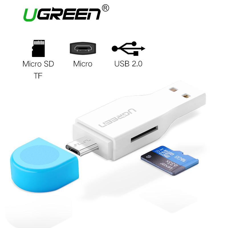 Ugreen Micro SD Card Reader USB 2.0 OTG Smart Mini Card Reader for Laptop Phone Tablet TF Memory Card Reader Micro SD Adapter