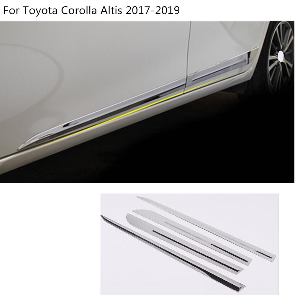 Car styling body Stainless Steel Door trim Strip Molding Stream lamp panel bumper 4pcs For Toyota Corolla Altis 2017 2018 2019
