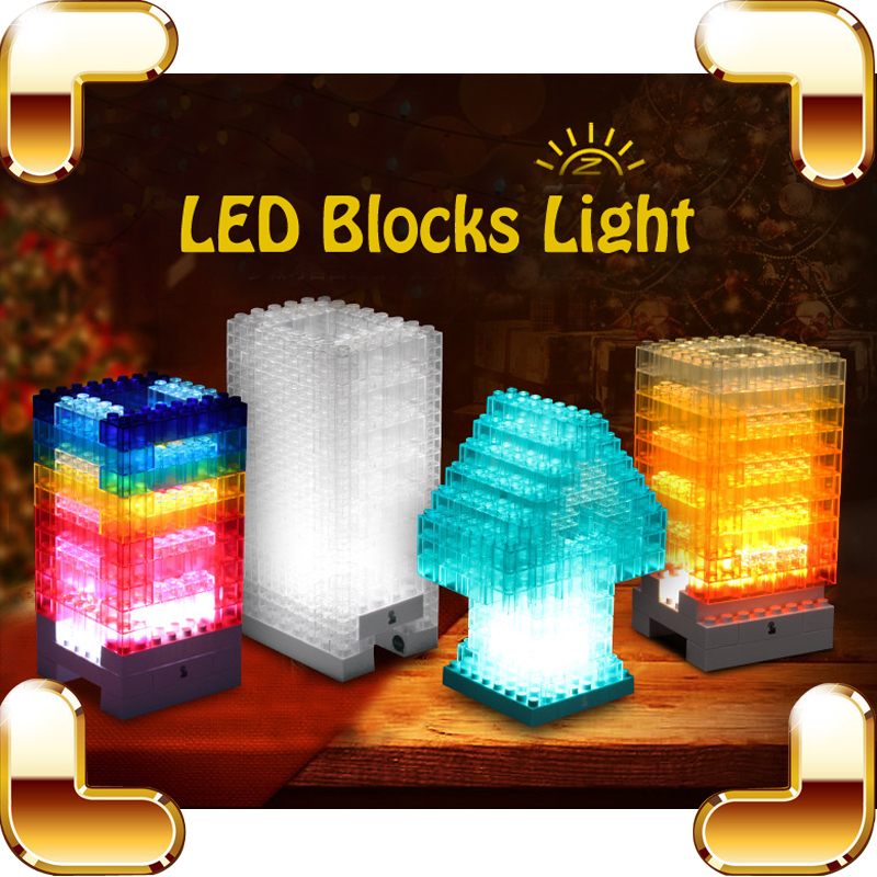 New Arrival Gift DIY LED Light Baby Block Building Game Novelty & Gag Toy Learning Educational Tool Kids Sleep Lamp Decoration