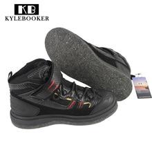 Zapatos de pesca de la roca Resbalón-Resistente Malla Transpirable Deporte al aire libre Zapatos de aguas arriba de vadeo Hombres Impermeable Pesca Suela de clavo de fieltro