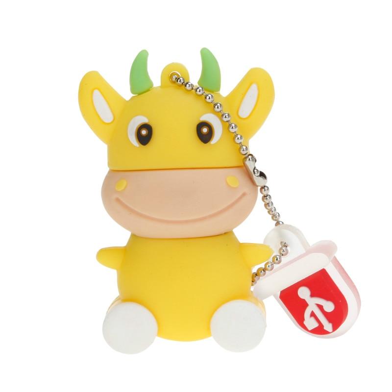 Mini USB Flash Drive Cartoon Animal Cow Memory Stick 4GB 8GB 16GB Pen Drive 32GB 64GB 128GB USB 2.0 Pendrive Thumbdrives U Disk-in USB Flash Drives from Computer & Office
